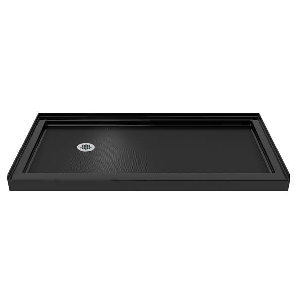 Base de douche SlimLine, 30 po x 60 po, acrylique, noir