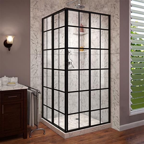 DreamLine French Corner Shower Door - 34.5-in x 72-in - Black
