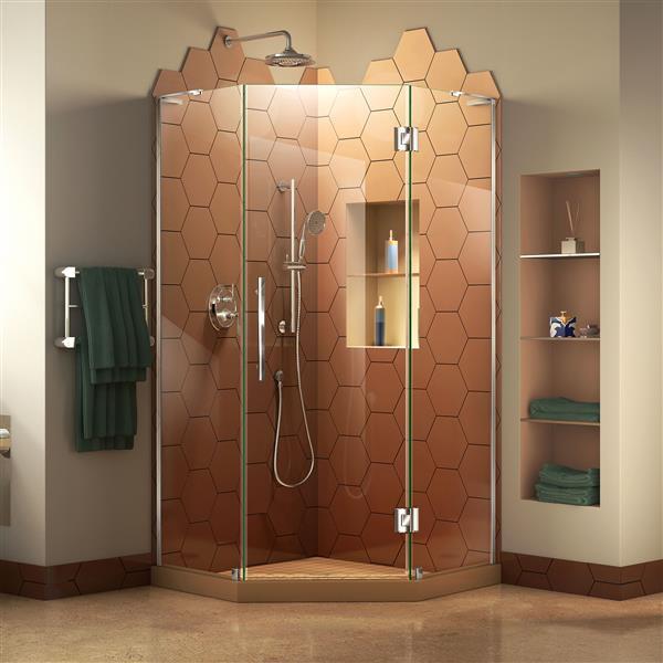 DreamLine Prism Plus Shower Door - 34-in x 72-in - Chrome