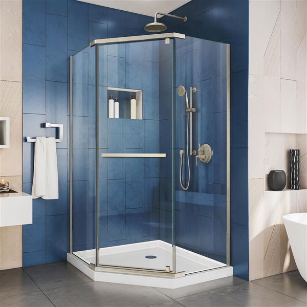DreamLine Prism Pivot Shower Door - 40.13-in x 72-in - Nickel