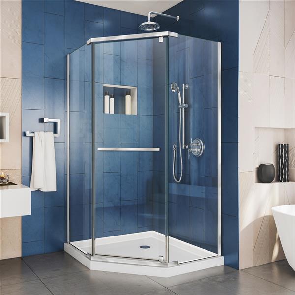 DreamLine Prism Pivot Shower Door - 34.13-in x 72-in - Chrome