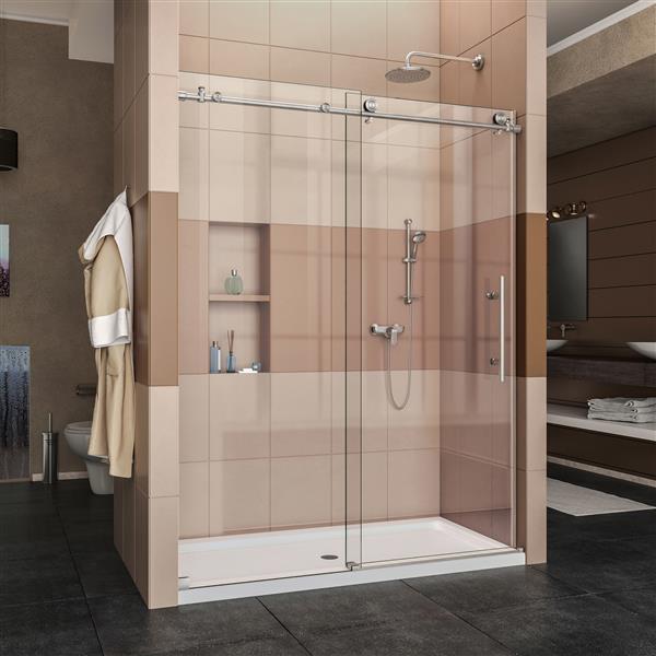 DreamLine Enigma-X Shower Door - 60-in - Stainless steel