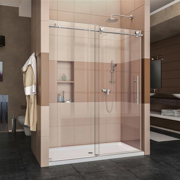 DreamLine Enigma-X Shower Door - 60-in x 76-in - Stainless steel