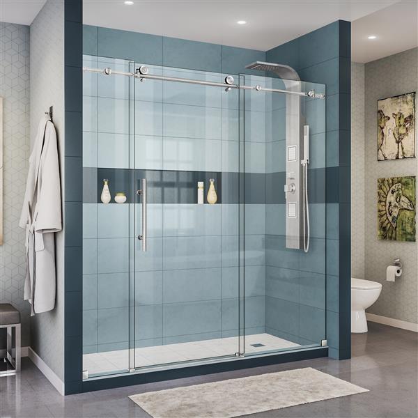 DreamLine Enigma-X Shower Door - 72-in - Stainless steel