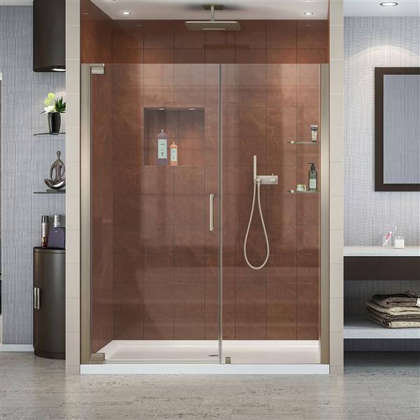 DreamLine Elegance Pivot Shower Door - 60-in x 72-in - Nickel