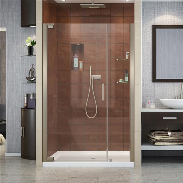 DreamLine Elegance Pivot Shower Door - 48-in x 72-in - Nickel