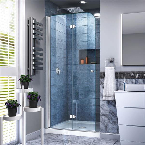 Porte de douche pliante Aqua Fold, 29,5 po x 72 po, chrome