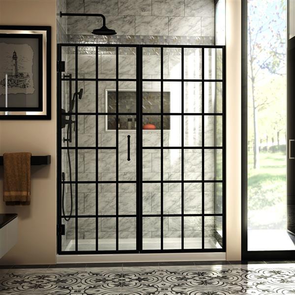 DreamLine Unidoor Toulon Shower Door - 58.5-in x 72-in - Black