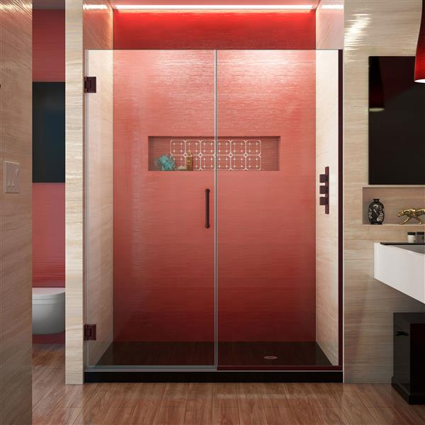 DreamLine Unidoor Plus Shower Door - 58.5-in x 72-in - Bronze