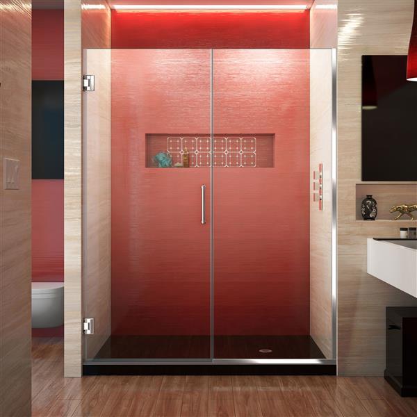 DreamLine Unidoor Plus Shower Door - 58-in x 72-in - Chrome