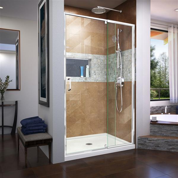 DreamLine Flex Pivot Shower Door - 48-in x 72-in - Chrome