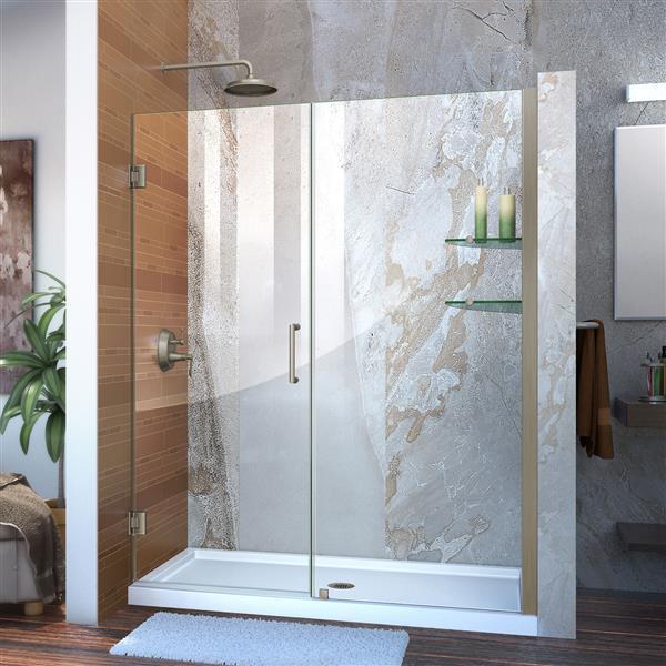 DreamLine Unidoor Shower Door - 59-in x 72-in - Nickel