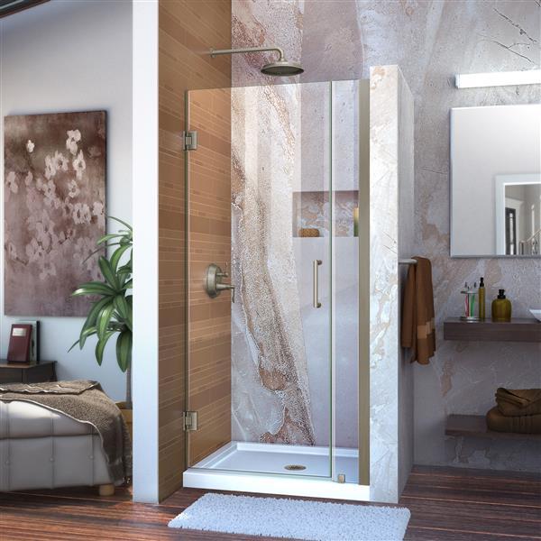 DreamLine Unidoor Shower Door - 35-in x 72-in - Nickel