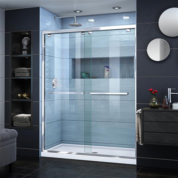DreamLine Encore Sliding Shower Door - 60-in x 76-in - Chrome