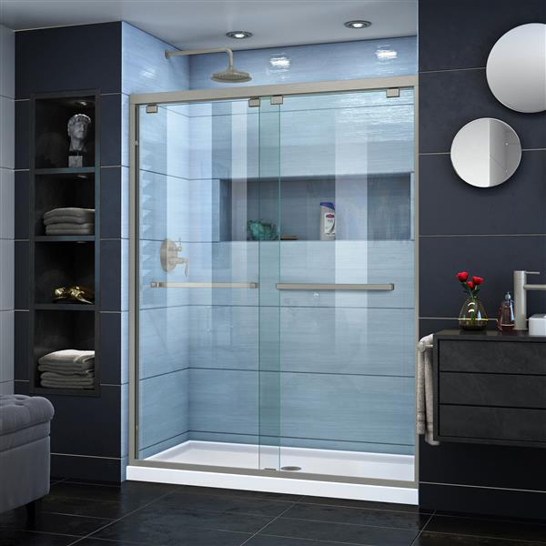 DreamLine Encore Sliding Shower Door - 60-in x 76-in - Nickel