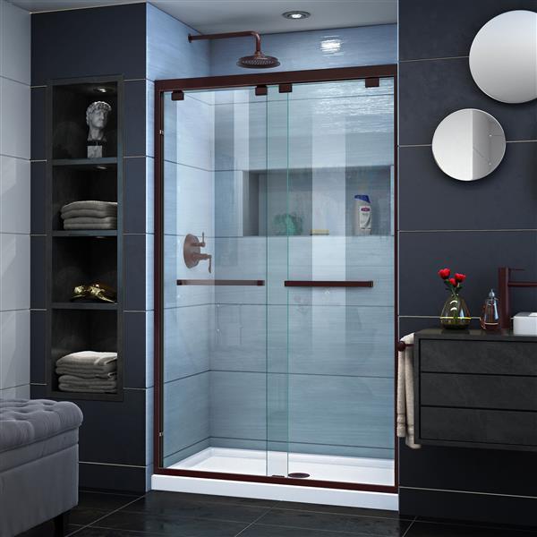 DreamLine Encore Sliding Shower Door - 48-in x 76-in - Bronze