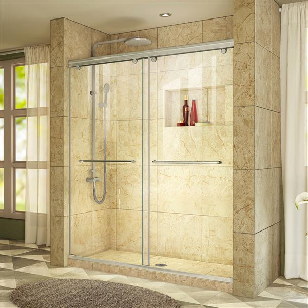 DreamLine Charisma Sliding Shower Door - 60-in x 76-in - Nickel