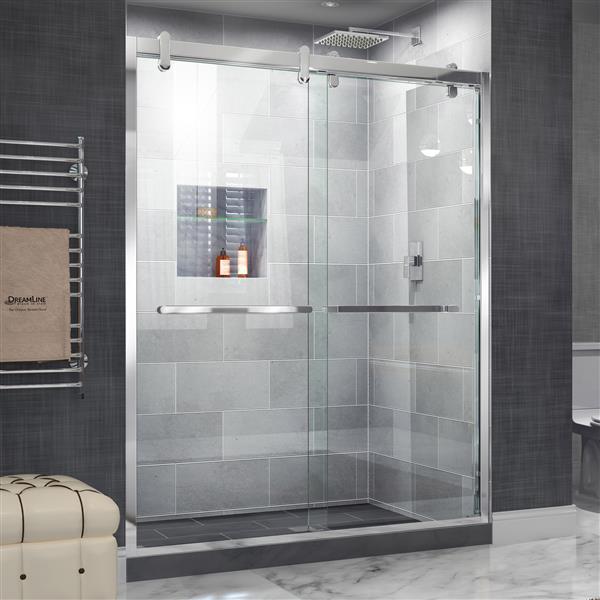 DreamLine Cavalier Shower Door - 60-in x 77.38-in - Stainless steel