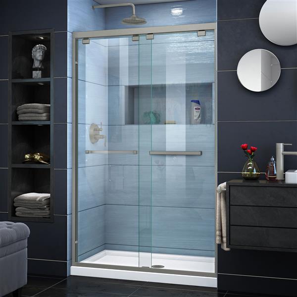 DreamLine Encore Sliding Shower Door - 48-in x 76-in - Nickel