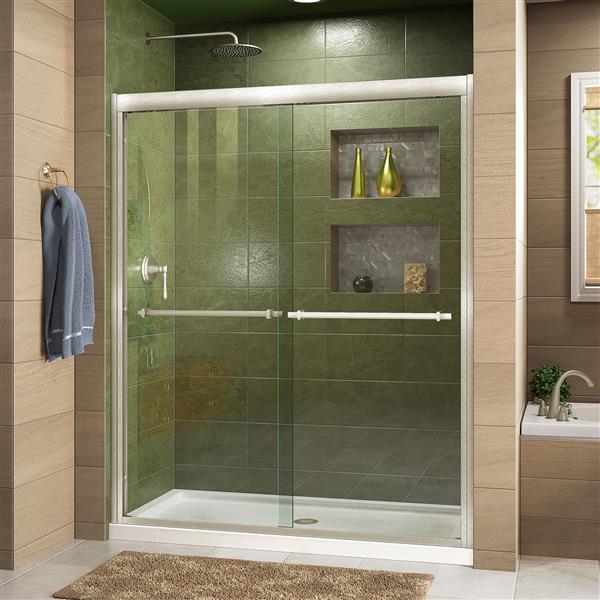 DreamLine Duet Sliding Shower Door - 60-in x 72-in - Nickel