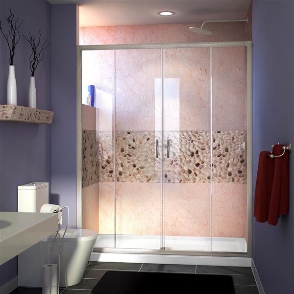 DreamLine Visions Sliding Shower Door - 60-in x 72-in - Nickel