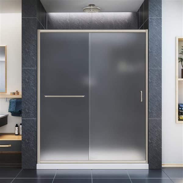 DreamLine Infinity-Z Sliding Shower Door - 60-in - Nickel