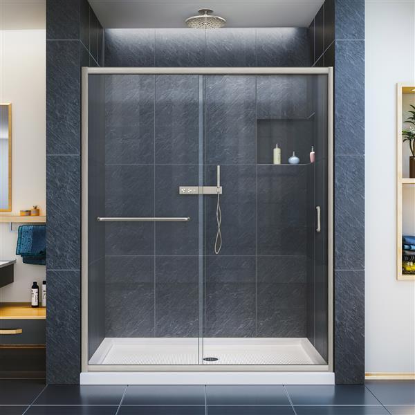 DreamLine Infinity-Z Sliding Shower Door - 60-in x 72-in - Nickel