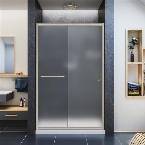 DreamLine Infinity-Z Sliding Shower Door - 48-in x 72-in - Nickel