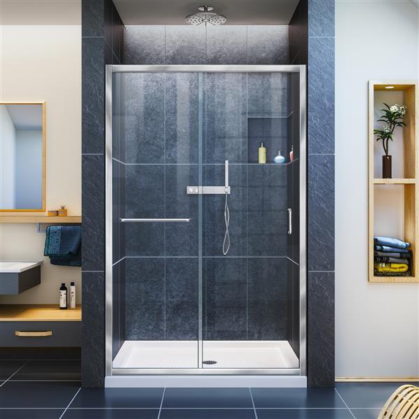DreamLine Infinity-Z Sliding Shower Door - 48-in x 72-in - Chrome