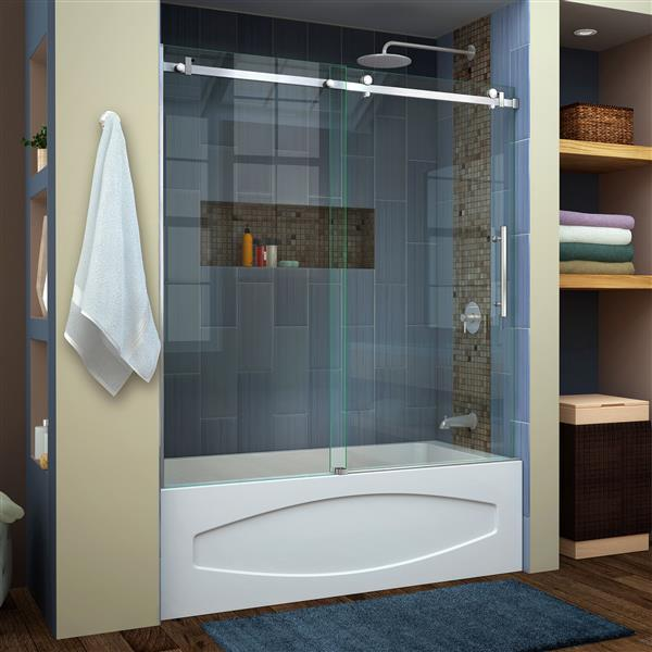 DreamLine Enigma Air Shower Door - 62-in - Glass - Stainless steel