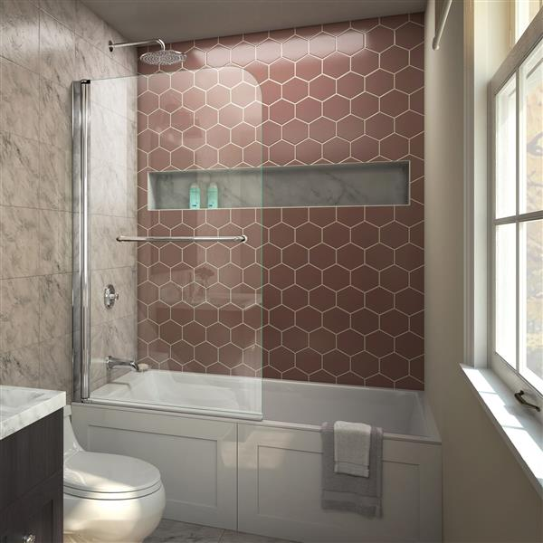 DreamLine Aqua Swing Shower Door - 34-in x 58-in - Glass - Chrome