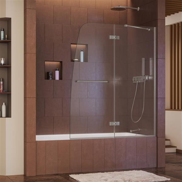 DreamLine Aqua Ultra Shower Door - 48-in x 58-in - Glass - Nickel