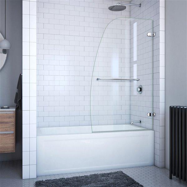 DreamLine Aqua Uno 34.31 po W Porte de baignoire - Chrome