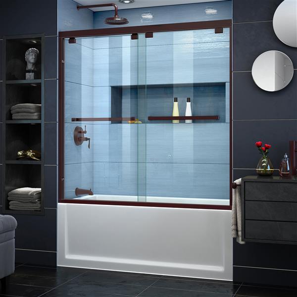 DreamLine Encore Shower Door - 60-in x 58-in - Glass - Bronze
