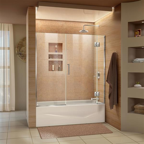 DreamLine Unidoor-X Shower Door - 58.5-in x 58-in - Glass - Chrome