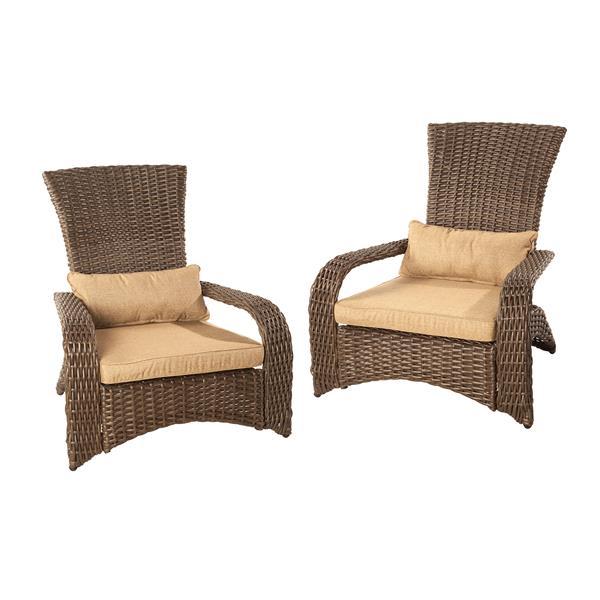Patio Flare Premium Wicker Muskoka Chair - Sesame - Set of 2