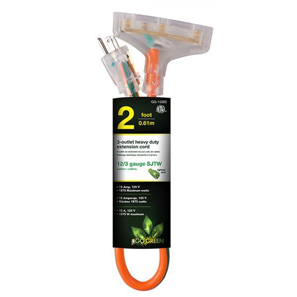 GoGreen Power 3-Outlet Heavy Duty Extension Cord - 12/3 - 2' - Orange