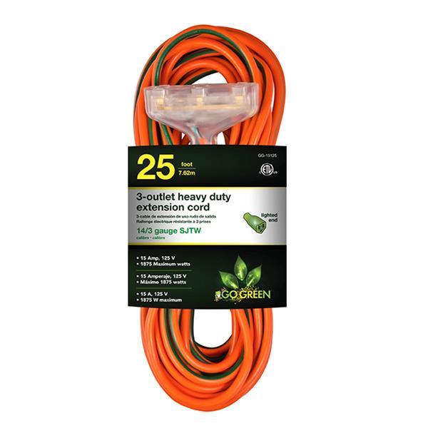 GoGreen Power 3-Outlet Heavy Duty Extension Cord - 14/3 - 25' - Orange