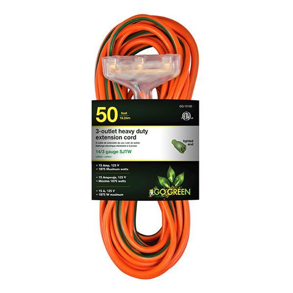 GoGreen Power 3-Outlet Heavy Duty Extension Cord - 14/3 - 50' - Orange