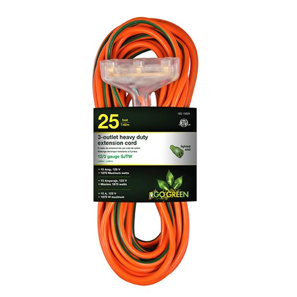GoGreen Power 3-Outlet Heavy Duty Extension Cord - 12/3 - 25' - Orange