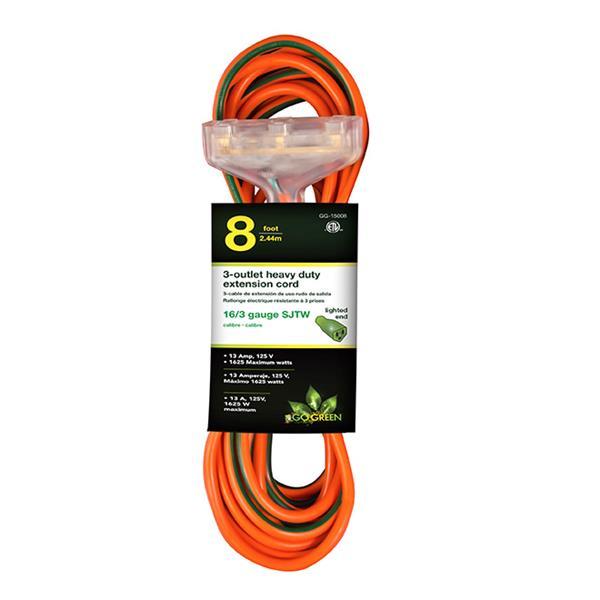 GoGreen Power 3-Outlet Heavy Duty Extension Cord - 16/3 SJTW  - 8'- Orange
