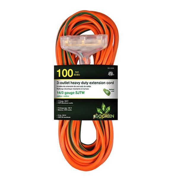 GoGreen Power 3-Outlet Heavy Duty Extension Cord - 14/3 - 100' - Orange