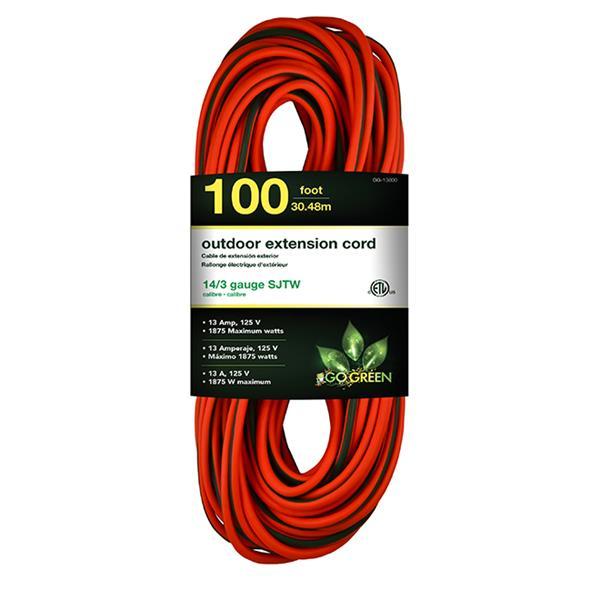 GoGreen Power Outdoor Extension Cord - 14/3 SJTW-A - 100' - Orange