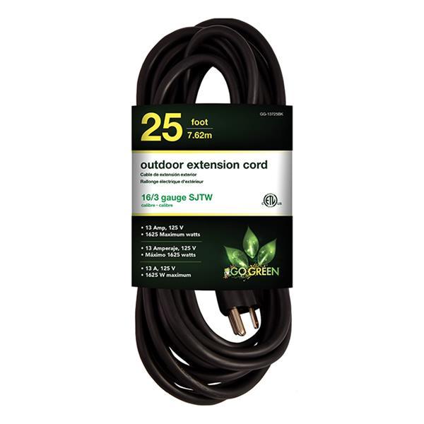 Rallonge électrique d'extérieur, 16/3 SJTW, 25', noir