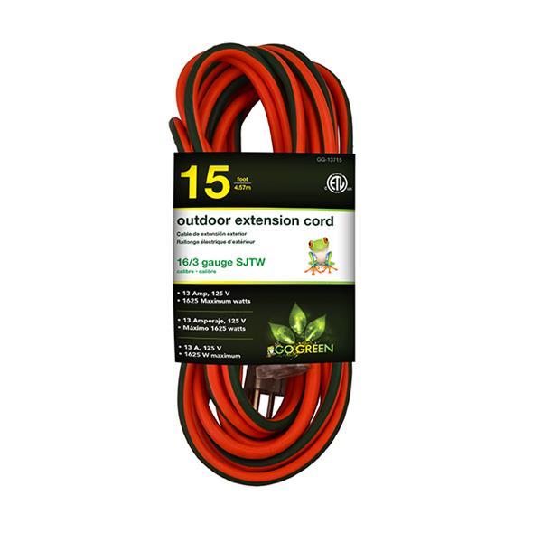 GoGreen Power Outdoor Extension Cord - 16/3 SJTW - 15' - Orange