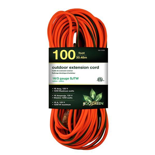 GoGreen Power Outdoor Extension Cord - 16/3 SJTW - 100' - Orange