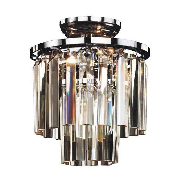 "Glow Lighting Crystal Flush Mount - Glass and Chrome - 10"""