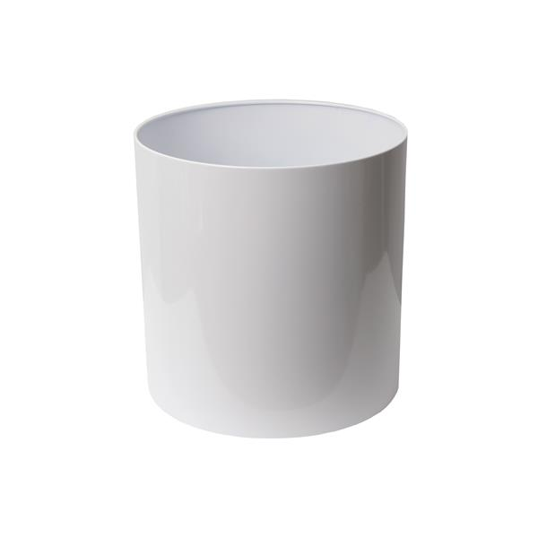 "Stainless Steel Straight Round Planter - 16"" x 16"" - White"