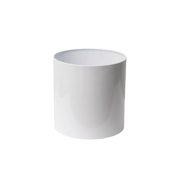 "Stainless Steel Straight Round Planter - 12"" x 12"" - White"