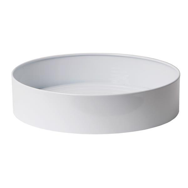 """Stainless Steel Round Indoor Planter - 14"""" x 3"""" - White"""